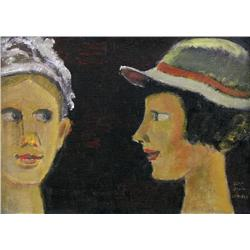 Jean Paul Lemieux Canadian RCA [1904-1990]DEUX FEMMESoil on canvas10 x 14 in. (25.4 x 35.6 cm)signed