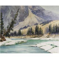 Reginald Llewellyn Harvey Canadian ASA [1888-1963]MOUNTAIN SCENE AT SPRING THAWwatercolour on paper1