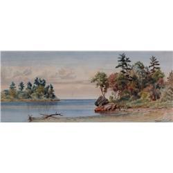Thomas Mower Martin Canadian OSA, RCA [1838-1934]SHORELINEwatercolour on paper7 x 16.5 in. (17.8 x 4