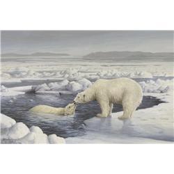 Marla Wilson Canadian [b. 1945]POLAR BEARS; 1986watercolour on paper9 x 13.5 in. (22.9 x 34.3 cm)sig