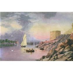 Charles Jones (C. J.) Way Canadian RCA [1835-1919]EUROPEAN RIVER SCENE WITH BOATS; 1894watercolour h