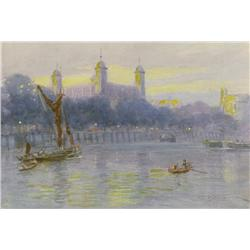 Frederic Marlett Bell-Smith Canadian OSA, RCA [1846-1923]THE TOWER OF LONDON (FROM THE THAMES)waterc