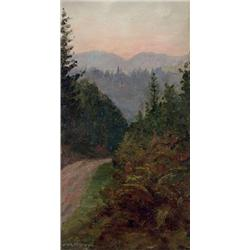 John Wycliffe Lowes Forster Canadian OSA, RCA [1850-1938]MOUNTAIN PATH AT DUSKoil on board14 x 8 in.