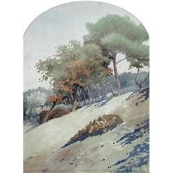 Frank Milton Armington Canadian MSA [1876-1941]TREES ON A HILLSIDEwatercolour on paper11 x 8.25 in.
