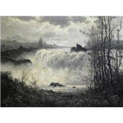 Constant A. (Charles) de l'Aubiniere French [1842-1910]RUSHING WATERFALLoil on canvas30 x 40 in. (76
