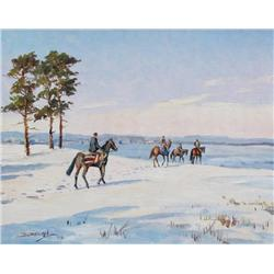 Duncan Mackinnon Crockford Canadian [1920-1991]WINTER COMES TO NEWMARKET, SCENE FROM FAMOUS WARREN H