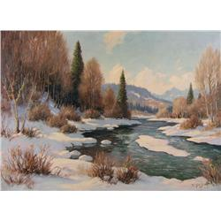 Roland Gissing Canadian ASA [1895-1967]ON SHEEP RIVERoil on canvas22 x 30 in. (55.9 x 76.2 cm)signed