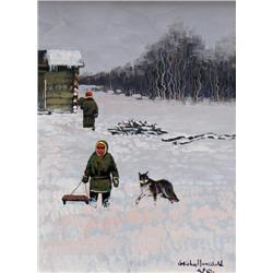 Michael Lonechild Canadian [b. 1955]GOING SLEDDINGoil on canvas10 x 8 in. (25.4 x 20.3 cm)signed & t