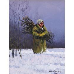 Michael Lonechild Canadian [b. 1955]MY GRANDMOTHER, BESSIE LONECHILDoil on canvas10 x 8 in. (25.4 x