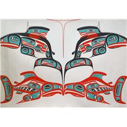 Robert Charles Davidson Canadian RCA [b. 1946]EVERY YEAR THE SALMON COME BACK; 1983colour serigraph