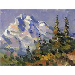 Fred Cameron Canadian [20th/21st century]MOUNTAIN SCENE WITH TREESoil on canvas12 x 16 in. (30.5 x 4