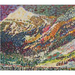 Laurel Cormack Canadian ASA [b. 1935]THE VANISHING CANADIAN, LAST SNOW; 1990acrylic on canvas48 x 54