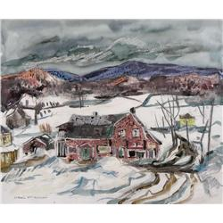 Henri Leopold Masson Canadian CGP, CSPWC, RCA [1907-1996]RED HOUSE, LAURENTIANSmixed media on paper1