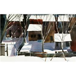 James A. Small Canadian [20th century]CABBAGETOWN, WINTER OF '83watercolour on paper14 x 21.5 in. (3