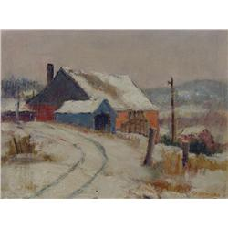 Peter Clapham Sheppard Canadian OSA, RCA [1882-1965]BARN IN WINTERoil on board10 x 12 in. (25.4 x 30
