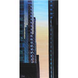 Sean Randall Canadian [b. 1965]CALGARY SKYLINE AT SUNSETacrylic on canvas48 x 24.5 in. (121.9 x 62.2
