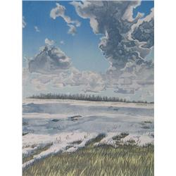 David Denyse Canadian [b. 1952]SPRING THAW; 1980colour lithograph on paper; ed. #2/3530 x 22.5 in. (