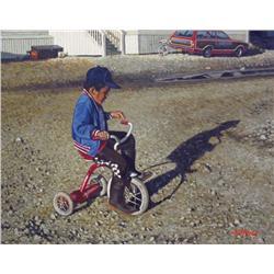 Graeme Shaw Canadian [b. 1951]DAWSON CITY DAREDEVILmixed media on canvas16 x 20 in. (40.6 x 50.8 cm)