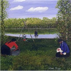 Allen Sapp Canadian RCA [b. 1929]WASHING CLOTHES OUTSIDEacrylic on canvas24 x 24 in. (61 x 61 cm)sig