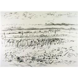 Dorothy Elsie Knowles Canadian RCA [b. 1927]SOUTH SASKATCHEWAN PRAIRIE; 1977charcoal on paper22 x 30