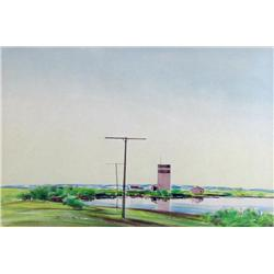 Robert Newton Hurley Canadian [1894-1980]SLOUGH AT THE EDGE OF TOWNwatercolour on paper9 x 13.5 in.
