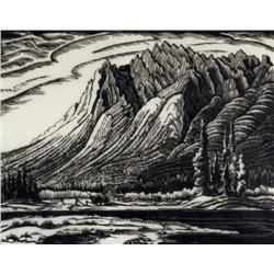 Margaret Dorothy Shelton Canadian ASA, CPE, CSGA [1905-1984]MT. ISHBEL, SAWBACK RANGE; 1942linocut o