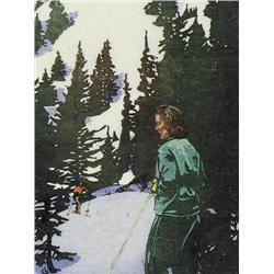 Walter Joseph Phillips Canadian ASA, CPE, CSPWC, MSA, RCA [1884-1963]SKI TRAIL; 1945colour woodcut o