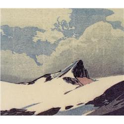 Walter Joseph Phillips Canadian ASA, CPE, CSPWC, MSA, RCA [1884-1963]MOUNT NICHOLAS; 1940colour wood
