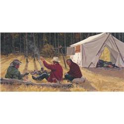 Richard (Dick) Audley Freeman Canadian [1932-1991]THE STORYTELLERacrylic on board12 x 24 in. (30.5 x
