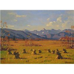 Theodor Marie Schintz Canadian ASA [1904-1975]EDEN VALLEY, STOOKSoil on canvas18 x 24 in. (45.7 x 61