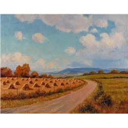 Roland Gissing Canadian ASA [1895-1967]STOOKS BY THE ROADoil on canvas20 x 26 in. (50.8 x 66 cm)sign