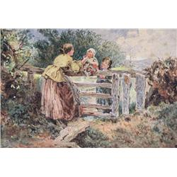 Myles Birket Foster (Attributed to) British RWS [1825-1899]FEEDING THE BABY AT THE GATEwatercolour h
