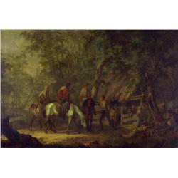 Gerrit Malleyn (Attributed to) Dutch [1753-1816]HUNTING PARTY AT A STABLEoil on panel15.75 x 24 in.