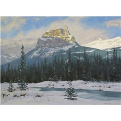 Mannie Gonsalves Canadian FCA [b. 1926]CASTLE MOUNTAINoil on canvas18 x 24 in. (45.7 x 61 cm)signed