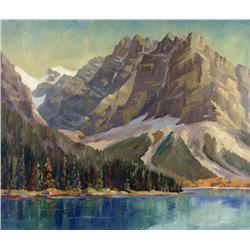Reginald Llewellyn Harvey Canadian ASA [1888-1963]SUMMER LANDSCAPE WITH MOUNTAIN AND LAKE oil on boa