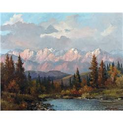 Duncan Mackinnon Crockford Canadian [1920-1991]SUNRISE ON THE ROCKIES. MORLEY HILL WEST OF COCHRANE,
