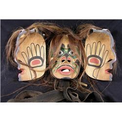 Max Chickite Canadian, Lekwiltok [b. 1958]TRANSFORMATION MASK; 1994carved painted cedar with hemp, l