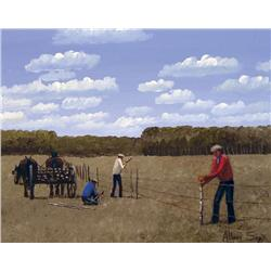 Allen Sapp Canadian RCA [b. 1929]FIXING THE FENCEacrylic on canvas16 x 20 in. (40.6 x 50.8 cm)signed