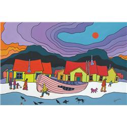 Ted Harrison Canadian [b. 1926]OLD BOAT; 1979acrylic on board24 x 36 in. (61 x 91.4 cm)signed, title