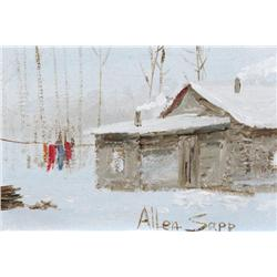 Allen Sapp Canadian RCA [b. 1929]CLOTHES HANGING ON THE LINE, WINTERacrylic on canvas5 x 7 in. (12.7