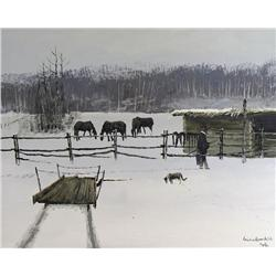 Michael Lonechild Canadian [b. 1955]GOING TO FEED THE HORSESacrylic on canvas16 x 20 in. (40.6 x 50.