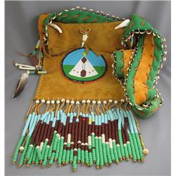 First Nations Artifact BANDOLIER BAGSmoked, brain tanned moose hide and trade cloth; glass bead deco