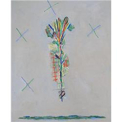 David Bolduc Canadian [b. 1945]NATIVE DANCER; 1981acrylic on canvas66 x 54 in. (167.6 x 137.2 cm)sig
