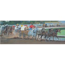 Enkhbold Dambadarjaa Mongolian [b. 1966]THE STAMPEDE RACE; 2008oil on canvas8 x 20 in. (20.3 x 50.8
