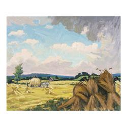 William Parsons Canadian OIP [1909-1982]HARVESTING; 1963oil on board20 x 24 in. (50.8 x 61 cm)signed