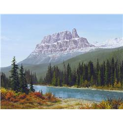 Roger Kamp Canadian [b. 1954]CASTLE MOUNTAIN & BOW RIVER; 1992oil on canvas14 x 18 in. (35.6 x 45.7