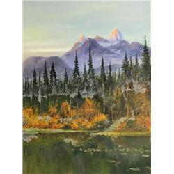 Edward Roper British [1833-1909]MOUNT ASSINIBOINE, THE CANADIAN MATTERHORN (FROM MARVEL LAKE)oil on