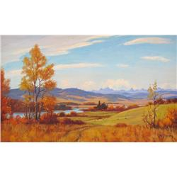 Roland Gissing Canadian ASA [1895-1967]BOW VALLEYoil on canvas14 x 22 in. (35.6 x 55.9 cm)signed & t