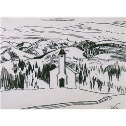 Illingworth Holey Kerr Canadian ASA, BCSA, RCA [1905-1989]CHURCH IN THE FOOTHILLSink on paper10.25 x
