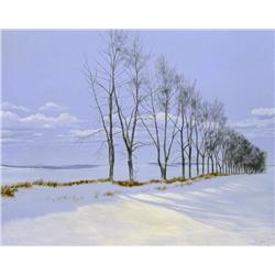Ted Raftery Canadian [b. 1938]THE WINDBREAK; 1979acrylic on canvas24 x 30 in. (61 x 76.2 cm)signed,